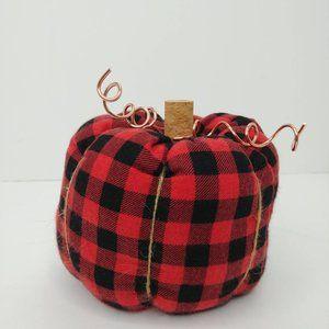 Red and Black Buffalo Plaid Stuffed fabric pumpkin
